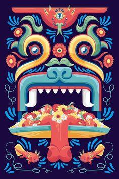 Trajinera de Xochimilco Mexican Graphic Design, Mexican Designs, Graphic Pattern, Art Chicano, Mexican Pattern, Art Tribal, Mexico Art, Wow Art, Mexican Folk Art