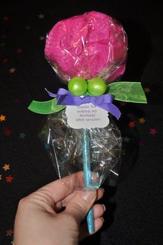 Handmade Unique Girls Spa Party Bath Puff Lollipop Favor with Pencil and Hair-tie or Ring - Set of 4. $18.00, via Etsy.