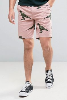 ASOS Slim Chino Shorts In Dinosaur Print from ASOS (men, style, fashion, clothing, shopping, recommendations, stylish, menswear, male, streetstyle, inspo, outfit, fall, winter, spring, summer, personal)
