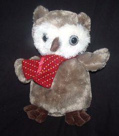 "Dan Dee OWL Brown and White wearing Red Multi-Color Scarf Plush 15"" #DanDee"