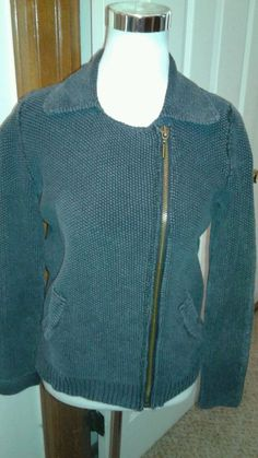Free People Dark Gray Sweater Size L Zip Front Cardigan Pockets & Collared #FreePeople #Cardigan