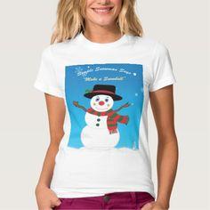 Simple Snowman Says 'Make a Snowball' T-Shirt