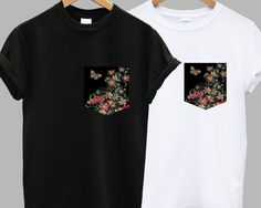 $14.17 :: White or black t-shirt with real stitched red/black vintage floral print front pocket by IIMVCLOTHING [men/women/fashion/hipster/flower/unique/style/clothes/shirt]