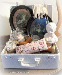 Organized Clutter: A Valentine's Day Suitcase Vignette