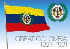 Bandera histórica de gran Colombia, 1821-1831, Colombia — Ilustración de stock Us Flag History, Military History, Art History, Flag Signs, Flags Of The World, Banner, Illustration, Caribbean, American