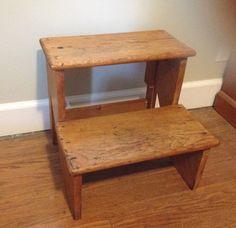 Vintage Rustic Pine Step Stool Overall by HeartsDesireFiber, $49.95