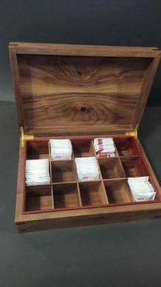 Walnut Tea BoxHandmade Tea Boxstorage tea box Chest Tea Bag   Etsy Tea Bag Storage, Storage Boxes, Storage Ideas, Coffee Table Upcycle, Tea Organization, Wooden Tea Box, Tea Varieties, Pantry Makeover, Knife Holder