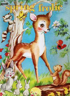 Spring Frolic Saalfield Unused Color Book by TwinSpruceAntiques Vintage Coloring Books, Vintage Children's Books, Coloring Book Pages, Children's Book Illustration, Animal Illustrations, Painted Books, Little Golden Books, Oh Deer, Vintage Paper Dolls