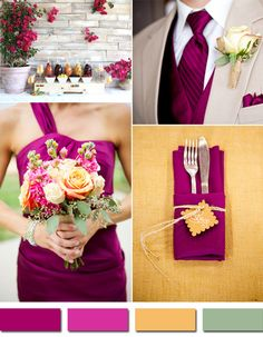 Planning an Autumn Theme? Find Your Unique Fall Wedding Style. autumn wedding colors / wedding in fall / fall wedding color ideas / fall wedding party / april wedding ideas Sangria Wedding Colors, Fall Wedding Colors, Autumn Wedding, Magenta Wedding, Purple Color Schemes, Wedding Color Schemes, Trendy Wedding, Our Wedding, Dream Wedding