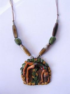Polymer clay necklace -The bridge