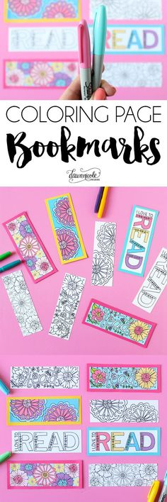 NEW! Free Summer Coloring Page Bookmarks. Color your own or grab the already colored printable version. Both downloads are free on the blog! | DawnNicoleDesigns...