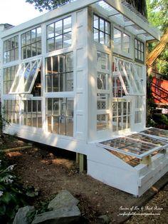 Repurposed Windows Greenhouse http://ourfairfieldhomeandgarden.com/building-a-repurposed-windows-greenhouse/