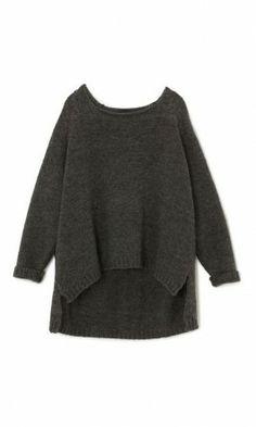 Lene jumper - Plümo LtdSlate grey oversized knitted sweater. Square cut shape with lower hem at back and side splits. Boat neck with slightly rolled plain edges. L64cm(front) L80cm(back)