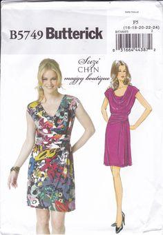 FREE US SHIP Butterick 5749 Sewing Pattern Suzi Chin Maggy Boutique Dress  Bias Drape Front Size 6ded2b76e