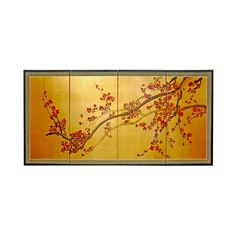 Plum Tree on Gold Leaf Silk Screen - OrientalFurniture.com