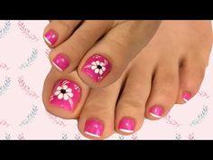 Diseño de flor fácil en las uñas de los pies - YouTube Flower Pedicure Designs, Nail Designs, Pedicure Nail Art, Nail Arts, Toe Nails, Tattoos, Nail Ideas, Fingers, Ale