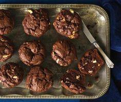 White chocolate chunk chocolate muffins.
