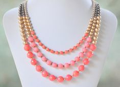 Chunky Statement Necklace in Coral and Gold. Bright Bold Coral Gold Color Block Statement Necklace.