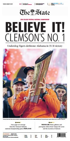 Clemson won! Win a framed front page!