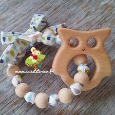 Hochet type Montessori, perle en bois de genévrier et hêtre, anneau hiboux