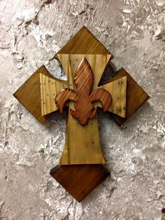 CTC24 Handcrafted Cypress Wood Tri Layered Cross / Fleur De Lis Wall Hang Home Decor by CajunCountryCreat on Etsy