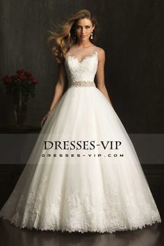 2015 Wedding Dress Bateau Lace Bodice Beaded Waistline Pick Up Tulle Skirt
