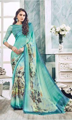 Shop Turquoise Digital Printed Saree (SKU Code : SAPVP21012) Online at IshiMaya Fashion