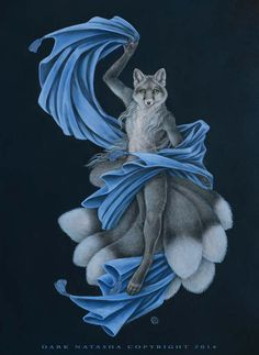 A Kitsune dances with total fluidity in and amongst the shadows. Mixed media