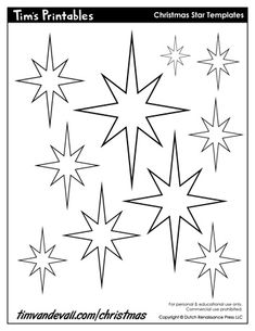 If you want to add a Christmas star to a homemade Christmas craft, decoration or holiday poster, print one of these free Christmas star templates. Crochet Christmas Ornaments, Christmas Star, Christmas Colors, Sunday School Crafts For Kids, Winter Crafts For Kids, Star Coloring Pages, Disney Coloring Pages, Christmas Templates, Christmas Printables