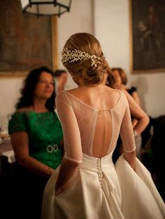 Modern A-Line Wedding Dress – Scoop Half Sleeves Open Back Lace-Up – Wedding Gown Mode Inspiration, Wedding Inspiration, Wedding Ideas, Wedding Photos, Bridal Gowns, Wedding Gowns, Wedding Ceremony, Wedding Venues, Wedding Lace