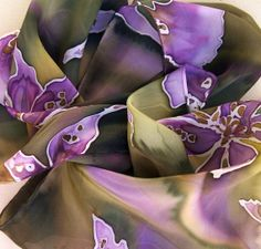 Purple Handpainted Silk Scarf with Orchids  MORNING by miamisilk, $52.00