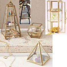 楓晴萬種小姐*代購,歐式復古風古銅黃銅塔形柱形玻璃盒珠寶盒首飾盒透明盒公仔玩具展示盒展示架客廳裝飾擺飾品家居.