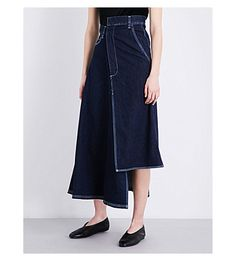MIHARAYASUHIRO Asymmetric High-Rise Denim Skirt. #miharayasuhiro #cloth #jeans & denim