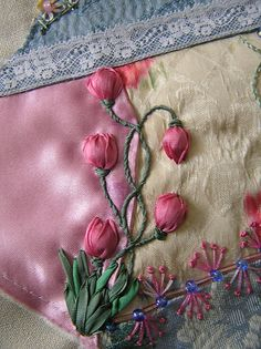 Ribbon embroidery:  Tulips