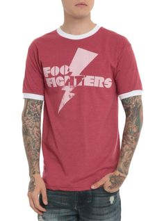 Red heather ringer T-shirt from Foo Fighters with a distressed lightning bolt logo design on front.