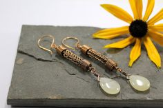 Viking knit Droplet earrings  Bronze and Green by Abbyjewellery