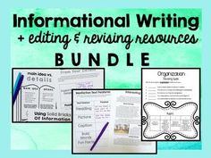 everything you need to set up writer's workshop in your upper elementary classroom! five informational writing units with anchor charts, posters, activities, mentor texts, and more PLUS editing and revising lessons & organizers. print & go- couldn't be simpler!!!