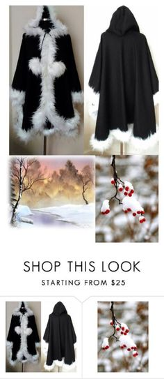 Hooded Winter Black Cashmere Cape in Faux Fur by HandmadebyNadya