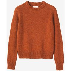 Toast Shetland Neat Pullover (€105) ❤ liked on Polyvore featuring tops, sweaters, ember orange, orange top, collar top, pullover tops, collared sweater and brown tops