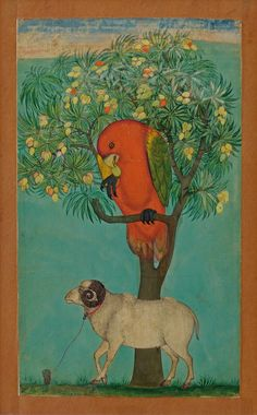 A Parrot Perched on a Mango Tree; a Ram Tethered Below, ca. 1670. Golconda. Islamic. Opaque watercolor and gold on paper. Jagdish and Kamla Mittal Museum of Indian Art, Hyderabad (76.438).