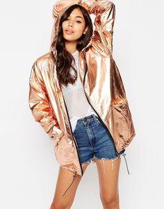 Image 1 of ASOS Rain Trench In Rose Gold Metallic