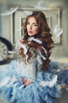 Beautiful Glamorous Dresses A clothed beauty page :-) Sharing favourite pictures sourced from the web. Fairytale Fashion, Fairytale Fantasies, Country Blue, Estilo Fashion, Blue Party, Girls Dream, Little Dresses, Vintage Girls, Girly Girl