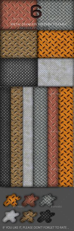 6 Background Metal Seamless Pattern Tileable