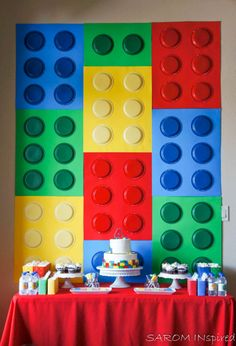 Little Boy's Birthday, Lego. Diy, Do It Yourself, Hosting within Lego Themed Party Decorations - Best Home & Party Decoration Ideas Lego Themed Party, Lego Birthday Party, Cars Birthday Parties, Cake Birthday, 7th Birthday, Lego Parties, Birthday Ideas, Lego Autos, Diy Party Photo Booth