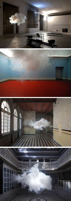 "Dutch artist Berndnaut Smilde has developed a way to create clouds indoors by carefully regulating the space's humidity, temperature and light. This intersection of science and art was recently named one of TIME magazine's ""Best Inventions of the Year 2012."":"