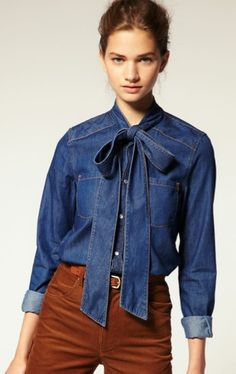"""I think I need to make a separate """"denim"""" section. Denim blouse with bow-tie is way precious."""