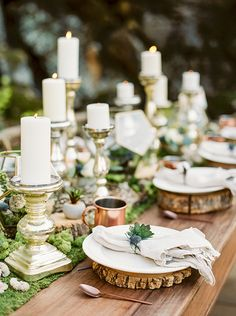 Moss and Gold Farm Table Decor