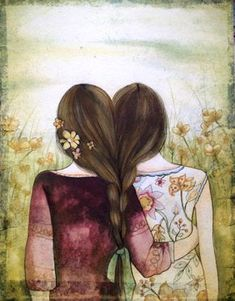 Two sisters best friends with brown hair art by claudiatremblay