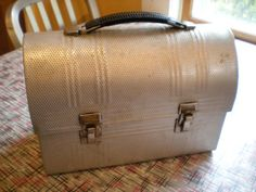 Vintage 1950s Aluminum Lunch Box Tote Box by retrowarehouse, $20.00