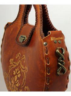 Bolso de cuero fileteado  eco por kearajean en Etsy